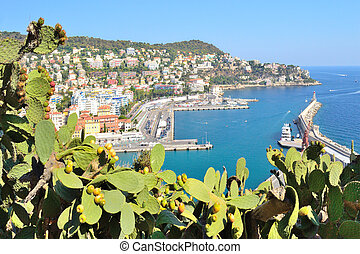 France. Nice view of the Nice embankment and the bay on a sunny summer day