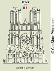 france., notre-dame, cathédrale, repère, reims, icône