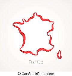France - Outline Map