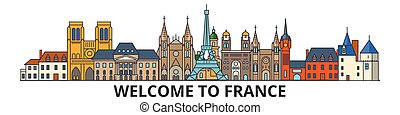 France outline skyline, french flat thin line icons, landmarks, illustrations. France cityscape, french travel city vector banner. Urban silhouette