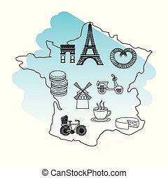 france paris map eiffel tower moulin rouge scooter coffee pretzel
