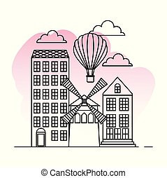 france paris architecture moulin rouge and hot air balloon