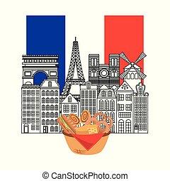 france paris architecture - vintage buildings arch triumph...