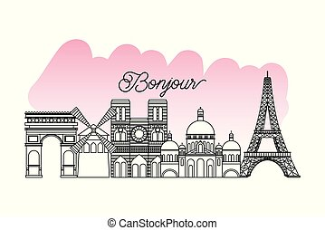 france paris card monuments french moulin rouge notre dame tower eiffel vector illustration