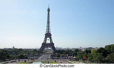 FRANCE, PARIS: Famous Eiffel Tower in the day, time-lapse