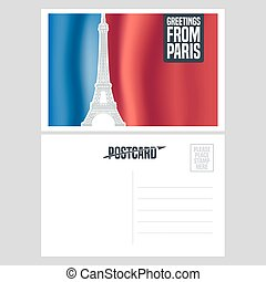 France, Paris vector postcard design with Eiffel tower