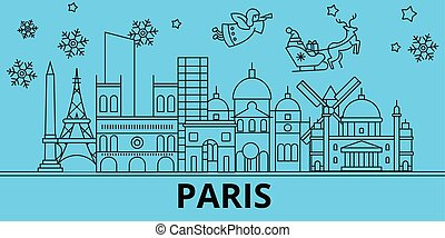 France, Paris winter holidays skyline. Merry Christmas, Happy New Year decorated banner with Santa Claus.France, Paris linear christmas city vector flat illustration