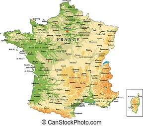 France physical map - Highly detailed physical map of France...