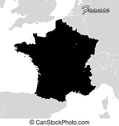 France Political Sihouette Map. Black and White Vector Graphic
