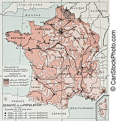 France population density at the end of 19th century, old...