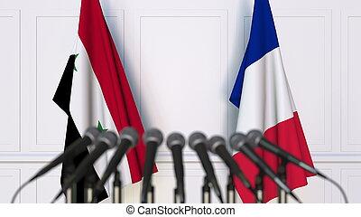 france, rendre, drapeaux, syrie, international, conference., réunion, ou, 3d