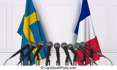 france, rendre, suède, drapeaux, international, conference., réunion, ou, 3d