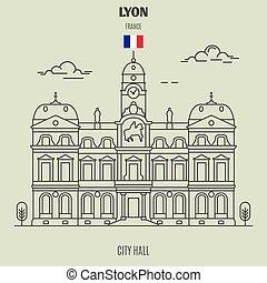 france., repère, hôtel ville, icône, lyon