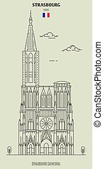 france., repère, strasbourg, icône, cathédrale