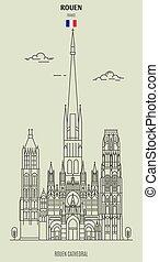 france., rouen, repère, icône, cathédrale