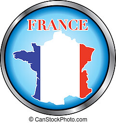 France Round Button - Vector Illustration for France, Round...