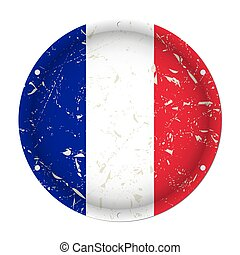 France - round metal scratched flag, screw holes