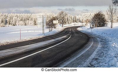 France Rural Road Winter