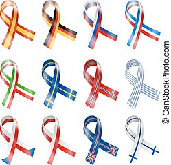 France, Russia, German and other Central European Country Flag Ribbons Vector Illustration