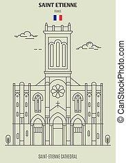 france., saint-etienne, cathédrale, repère, etienne, saint, icône