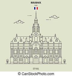 france., señal, ayuntamiento, icono, roubaix