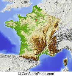 France, shaded relief map - France. Shaded relief map with...