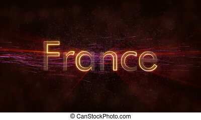 France - Shiny looping country name text animation - France...