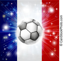 France soccer flag - Flag of France soccer background with...