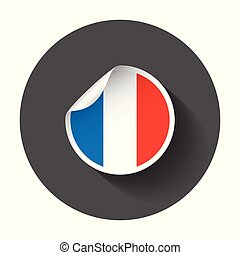 France sticker with flag. Vector illustration with long shadow.
