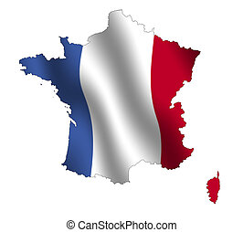 France - Outline of France, fileld with its waving flag