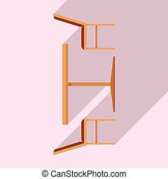 France street cafe furniture icon, flat style