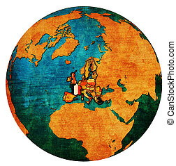 france territory with flag over globe map