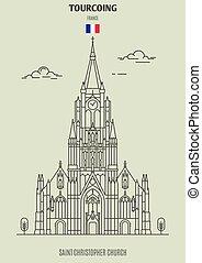 france., tourcoing, église, repère, christophe, saint, icône