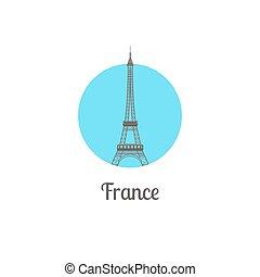 France tower landmark isolated round icon