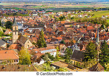 france, traditionnel, alsace, ribeauville, village, vue