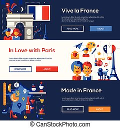 France travel banners set with famous French symbols