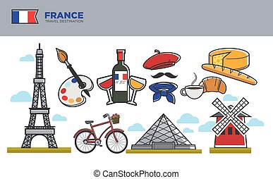 France travel destination banner. Famous Eiffel tower, bottle of delicious wine, Louvre building, Moulin rouge, cheese head, soft croissant with coffee cup and colorful palette vector illustrations.