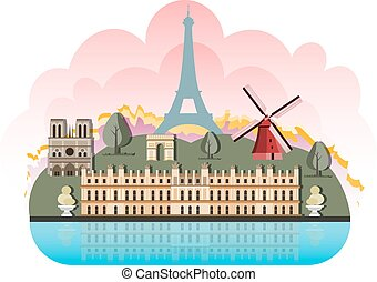 France travel destinations icon set. Vector illustration