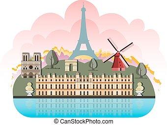 France travel destinations icon set