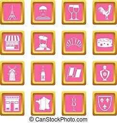 France travel icons pink