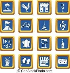 France travel icons set blue
