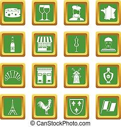 France travel icons set green