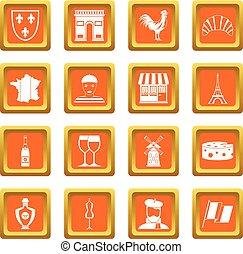 France travel icons set orange