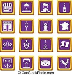 France travel icons set purple