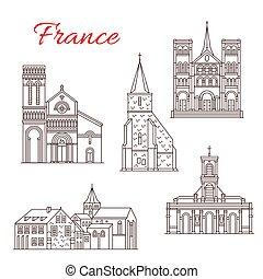 France famous travel landmark buildings and architecture sightseeing line icons. Vector set of Saint-Michel chapel, Saint Vincent and Saint-Francois or Sainte Anne church and Graville abbey
