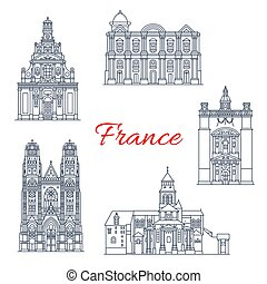France travel landmarks vector buildings icons - France...