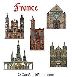 France travel landmarks vector buildings icons