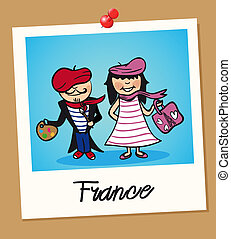France travel polaroid people - French man and woman cartoon...