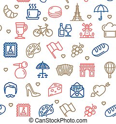 France Travel Seamless Pattern Background on a White. Vector