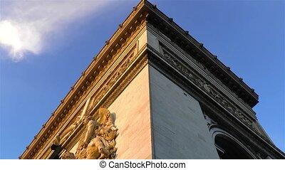 france., triomphe, paris, arc, architectural, de, detail: